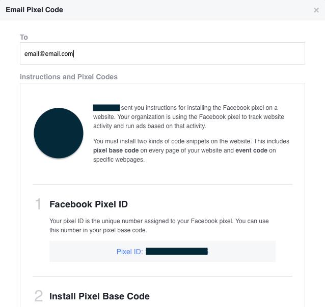 Facebook pixel poslať email