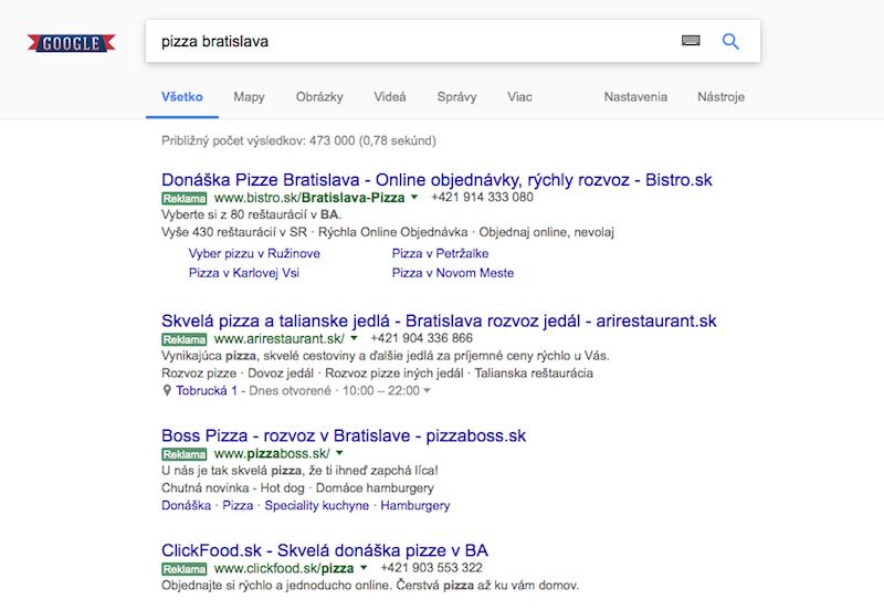 serp google výsledky platená reklama