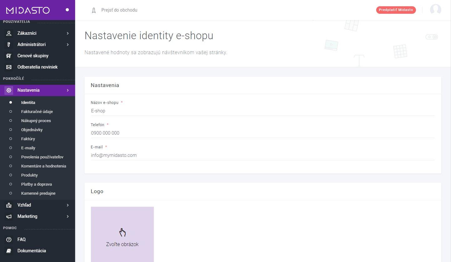 Nastavenie identity e-shopu