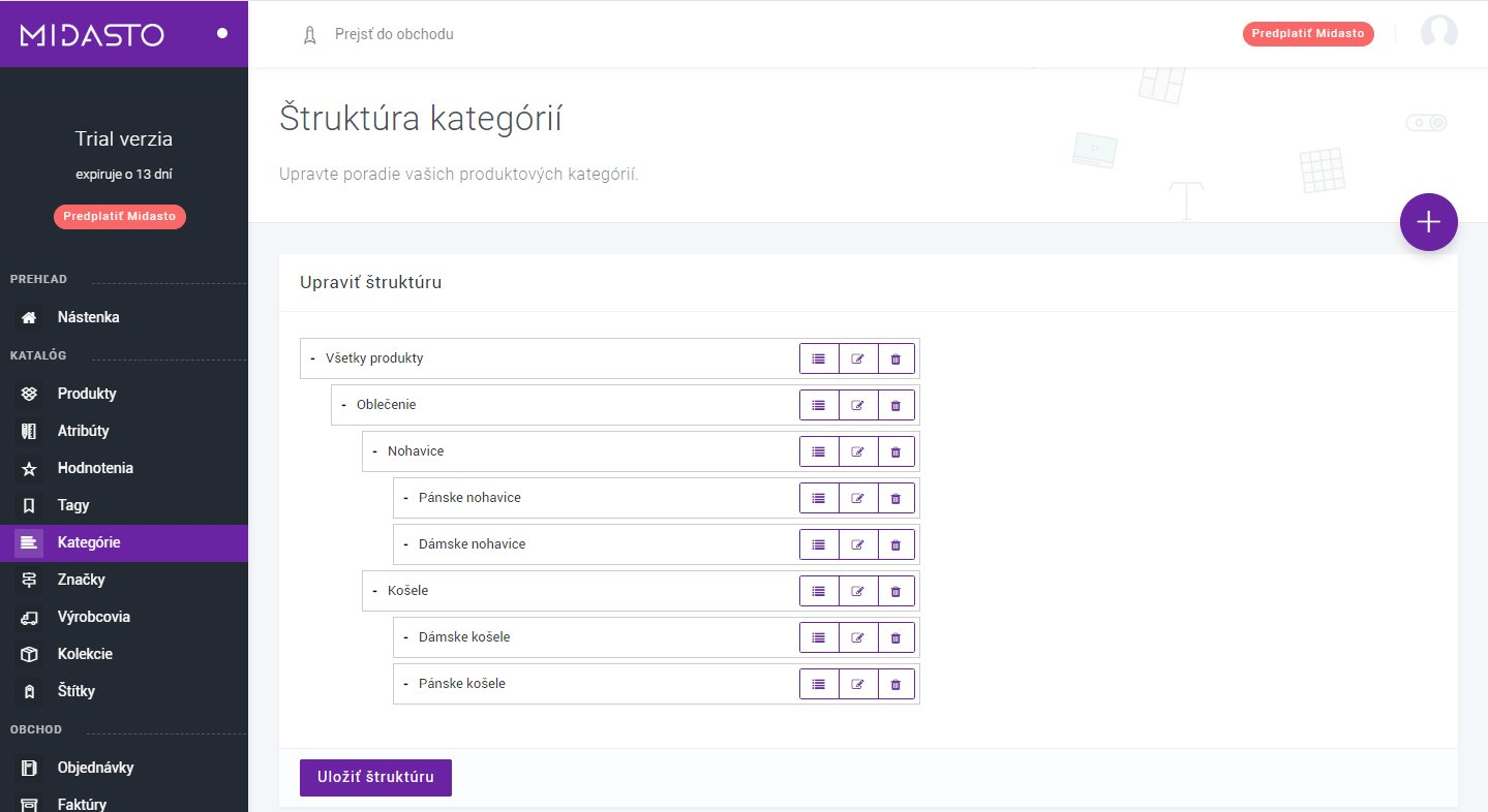 Kategórie e-shopu-manuál Midasto
