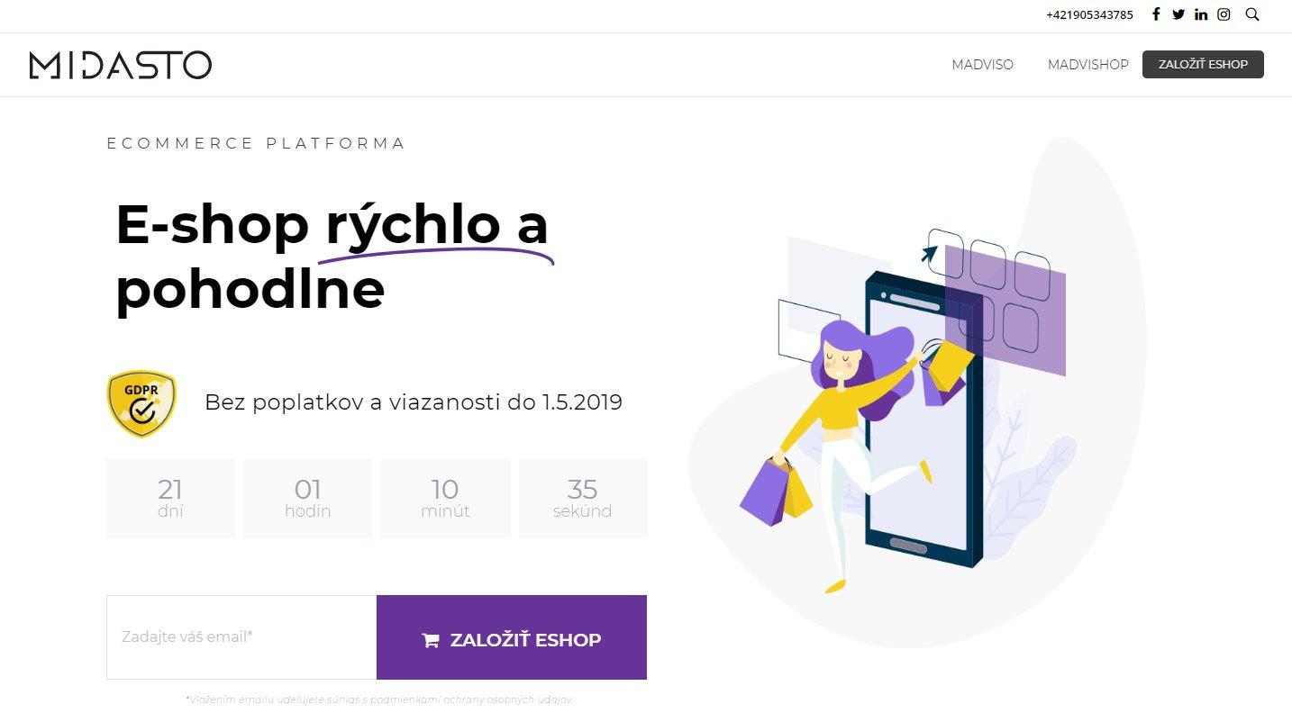 Registrácia e-shopu na Midasto