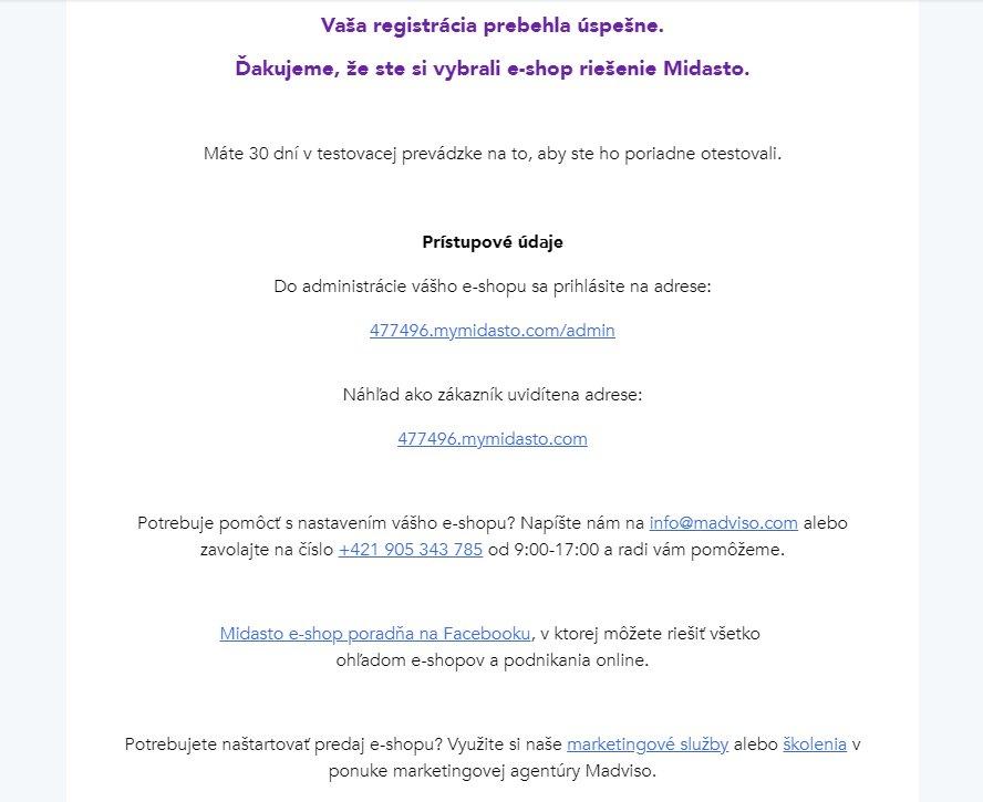 Prístupové údaje pri registrácii e-shopu