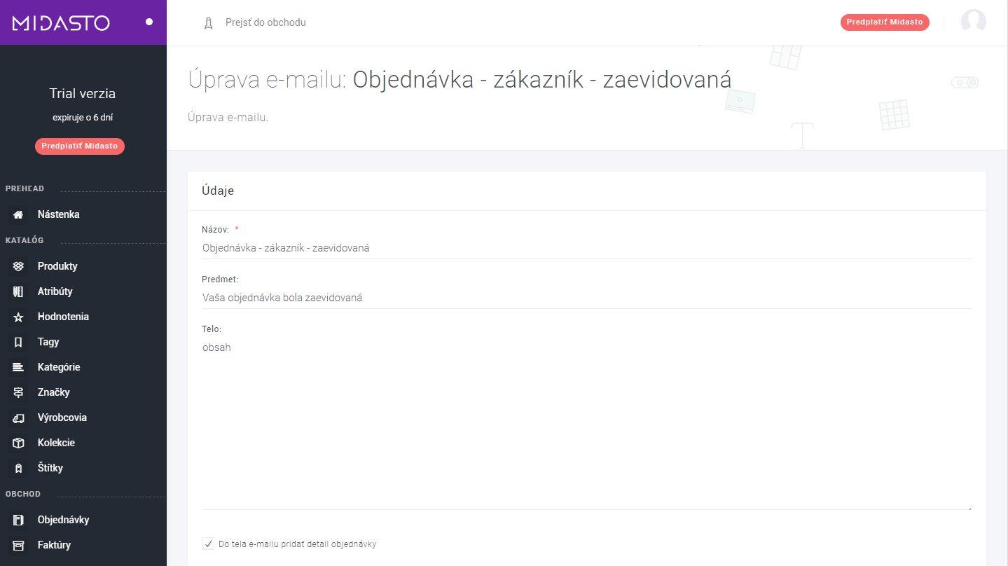 Automatické e-maily e-shopu