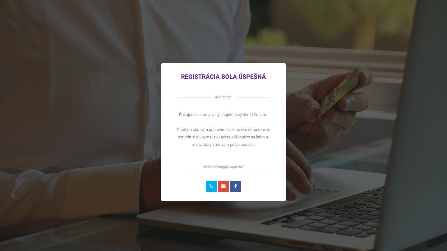 Registrácie e-shopu na Midasto