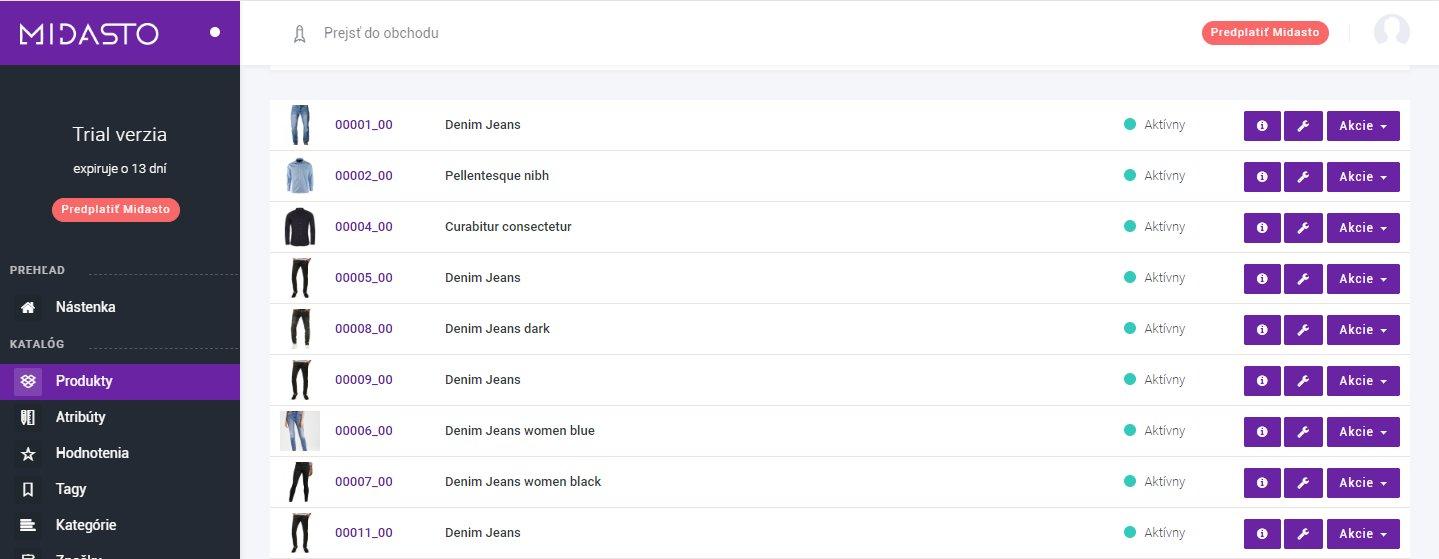 Zoznam produktov-manuál Midasto