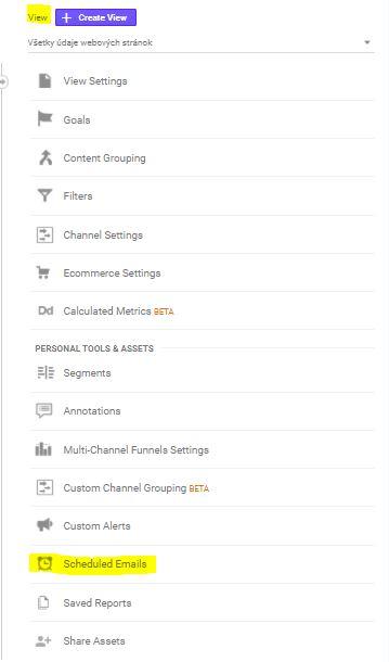 Posielanie e-mailov s údajmi z Google Analytics