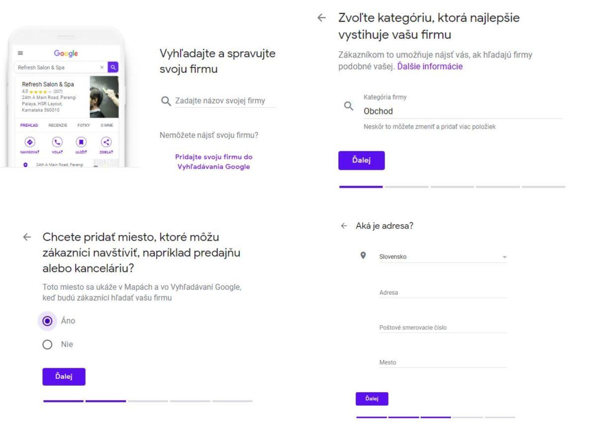 Záznam firmy na Google My Business