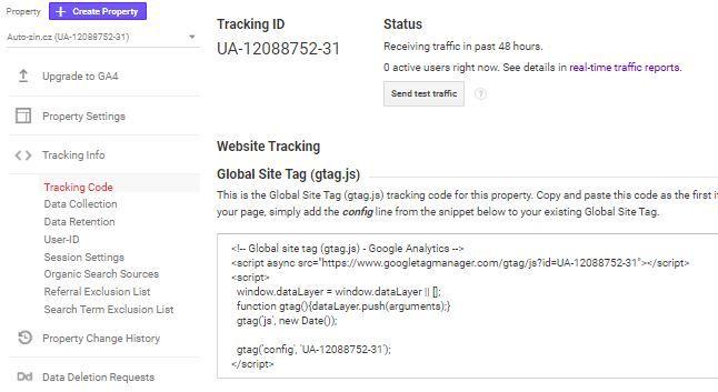 Kód sledovania Google Analytics