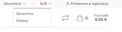 Prepnutie jazyka e-shopu